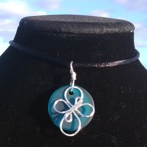 Silver Cross Teal Sea Glass Necklace
